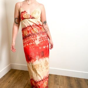 Vintage Red and Tan Floral Bohemian Maxi Dress